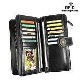 Women Wallets RFID Genuine Leather Ladies Wallets, Long Trifold Clutch Purse,Zipper Wallet