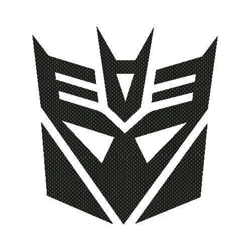 Decepticon Decal Sticker - Size:3.0 x 3.2 inches - Color:Carbon Fiber - Decepticon Car Decal