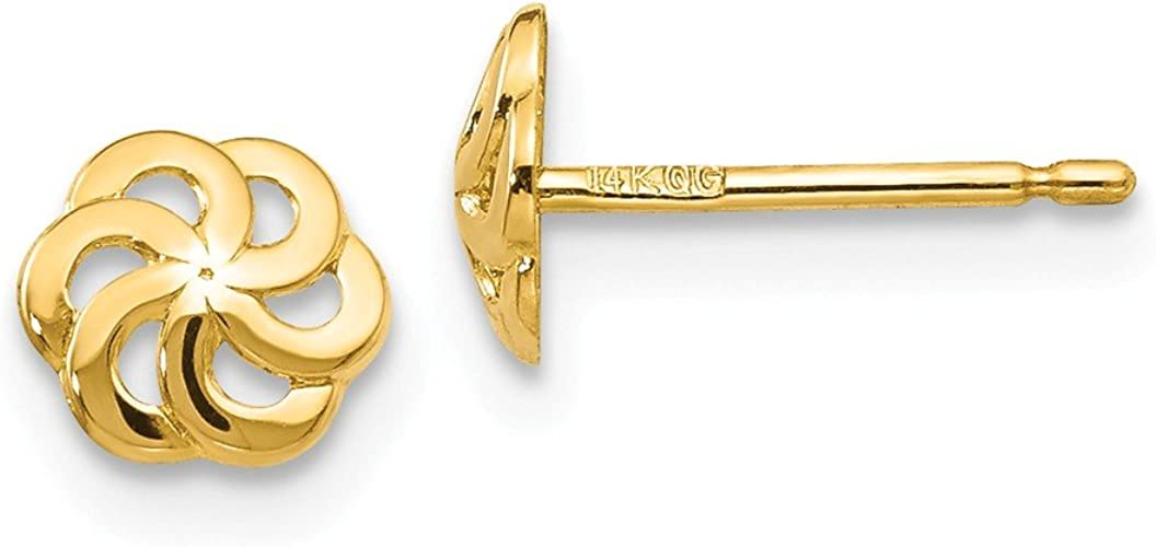 14kt Real Yellow Gold Gold Polished Flower Post Earrings