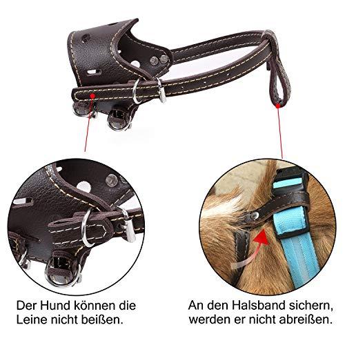 Leather Muzzle with Adjustable Straps Baskerville Muzzle Anti Bite Bark Dog Muzzle (Brown, Size S – XL),L by Mitrc (Image #3)