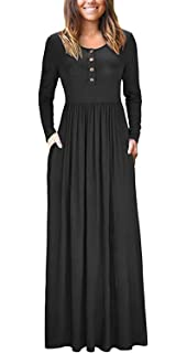 4adc669687e458 shangke Maxi Dresses for Women,Womens Long Sleeve Loose Plain Casual Long  Maxi Dress with