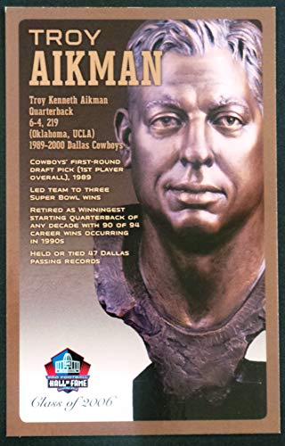(PRO FOOTBALL HALL OF FAME Troy Aikman NFL Bronze Bust Set Card Postcard (Limited Edition #143 of 150))