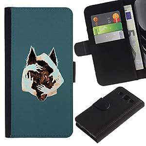YiPhone /// Tirón de la caja Cartera de cuero con ranuras para tarjetas - Arte surrealista Lobo - Samsung Galaxy S3 III I9300