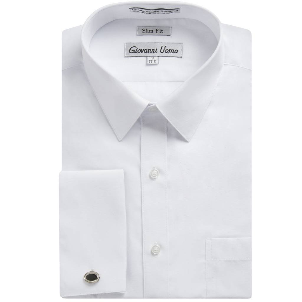 Gentlemens Collection Men's 1921 Slim Fit French Cuff Dress Shirt ,White,15.5'' Neck 32/33'' Sleeve