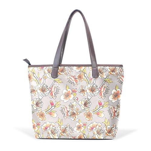 COOSUN Bolso asa grande bolsa de asas para mujer del patrón de flor de ciruela cuero de la PU L (33x45x13) cm muticolour