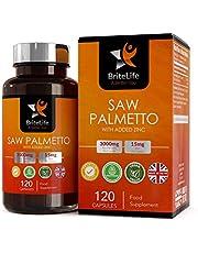 BriteLife Saw Palmetto Capsules 3000mg met 15 mg Zink- High Strength Extract 120 Veganistische Tabletten – voorraad voor 4 maanden | DHT Blocker Supplement | GMO- en Allergeenvrij