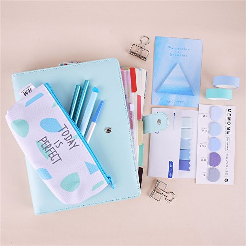 22pcs Bundle New Years Stationary Set A5 Colored Spiral Notebook With Filler Papers Pens Tapes Stickers Overvalued Stationery Set Package Cost-Effective (Blue - Frame Bag B4