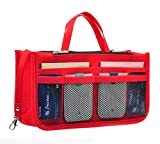 Vercord Sturdy Felt Handbag Purse Organizer Insert With Keychain 17 Compartments, Red L