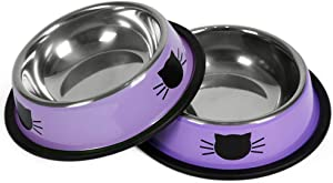 Hach 2Pcs Cat Bowls Non-Slip Cat Dishes for Food Small Cat Bowls for Indoor Cats 7 Oz Unbreakable Thicken Suitable with Removable Rubber Base Easily Clean Lovely Optional Color Painted Set