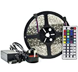6 Metre LED Strip Light Kit, 5050 RGB Colour Changing LED Tape with Wireless Key 44 Controller & Power Adapter, Fantastic for Applications Such As Kitchen Lighting, Under Cabinet Lighting, Ceiling Lights, TV Lighting, Etc