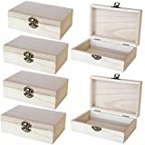 Unfinished Wooden Jewelry Box - 6-Pack Wood Jewelry Boxes with Locking Clasp for DIY Projects, Home Decor, Storage Case, 5.9 x 3.9 x 1.97 Inches