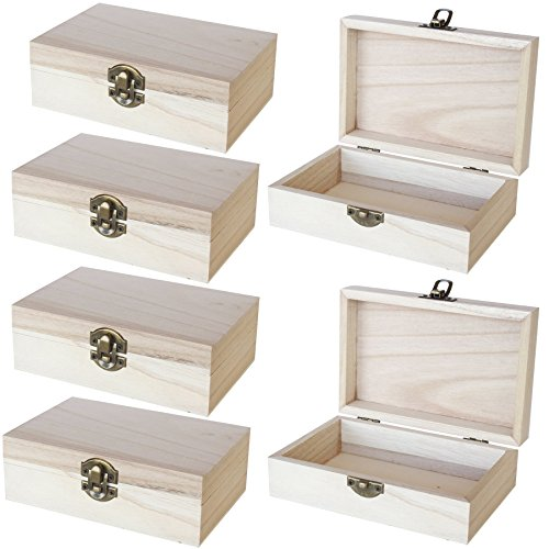 Unfinished Wooden Jewelry Box - 6-Pack Wood Jewelry Boxes with Locking Clasp for DIY Projects, Home Decor, Storage Case, 5.9 x 3.9 x 1.97 Inches (Little Wooden Box)