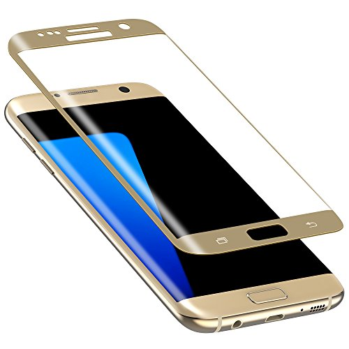 Galaxy S7 Edge Screen Protector, Snowpink Galaxy S7 Edge Tempered Glass Screen Protector Full Coverage Ultra HD Clear Anti-Fingerprint Anti-Bubble Film Screen Protector for Samsung Galaxy S7 Edge-Gold