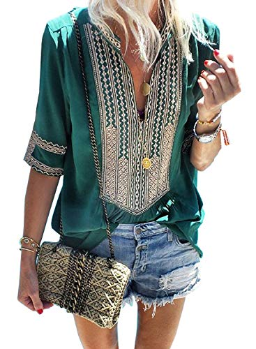 Women's Summer T-Shirt V Neck Short Sleeve Casual Tops Boho Embroidered Blouse Green M