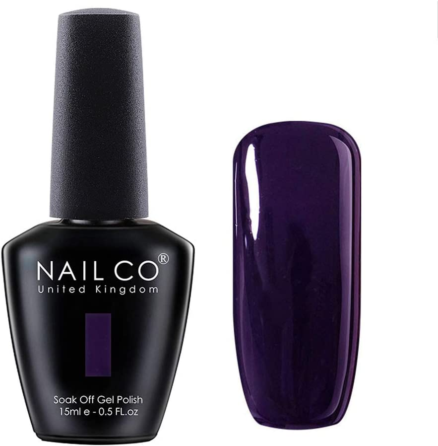 Amazon Com Nailco 15ml Soak Off Uv Led Nail Gel Polish Nail Art Salon Manicure Lacquer Varnish Midnight Purple 1342 Health Personal Care