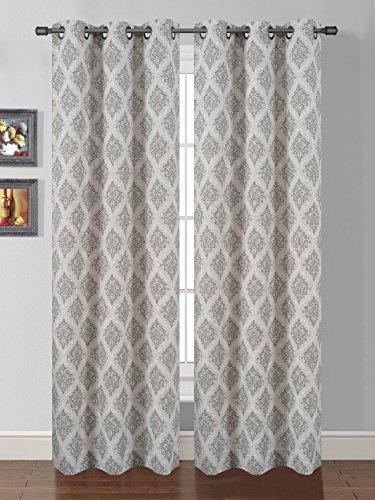 Luxury Printed Curtain Set 2 Piece Grommets Window Panels/drapes (Grey)