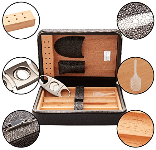Capo Lily Cigar Humidor, Travel Portable Case with Cutter, PU Leather Wooden Box for 4 Cigars by Capo Lily (Image #1)