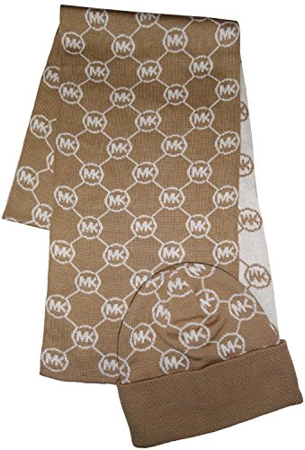 - Michael Kors Women's Logo Knit Scarf & Beanie Hat Set, Camel /Cream, One Size