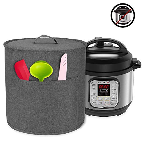 Luxja Dust Cover for 3 Quart Instant Pot, Cloth Cover with Pockets for Instant Pot (3 Quart) and Extra Accessories, Gray (Small)