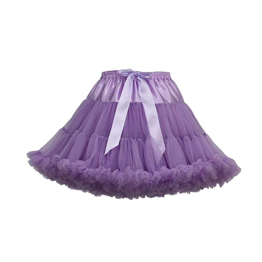Women's Tulle Skirts A-Line Mini Skirts Fashion Sexy Solid Color Party Dance Ballet Bow Short Tutu Skirts (Free Size, D)