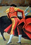 100% Hand Painted Mexican Bullfight Torero Red Cape El Toro Canvas Oil Painting for Home Wall Art by Well Known Artist, Framed, Ready to Hang