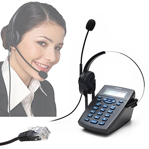 AGPtEK Call Center Telephone Dialpad with 4 Pin RJ9 Monaural Headset, Noise Cancelling Office Phone with Tone Dial Key Pad Redial Function & Phone Book, for Insurance, Hospitals, Banks and Enterprises