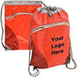 Zip Pouch Drawstring Backpack String-A-Sling Bag - 14''w x 18-1/2''h- 50 Quantity - $4.30 Each -Promotional Products Bulk Custom Branded with YOUR LOGO for Free C2BPromo #C2BB0087-Red