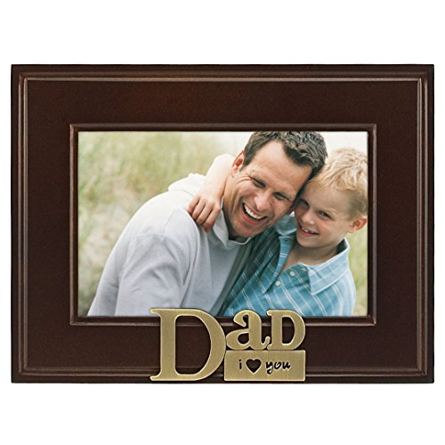 Malden International Designs I Heart Brass Word Dad Picture Frame, 4x6, Brass