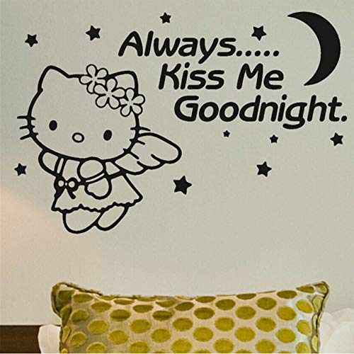LSFHB Grils Room Decoration Wall Stickers Kiss Me Goodnight Baby Kids Vinyl Wall Decals Hello Kitty Angel Sticker -