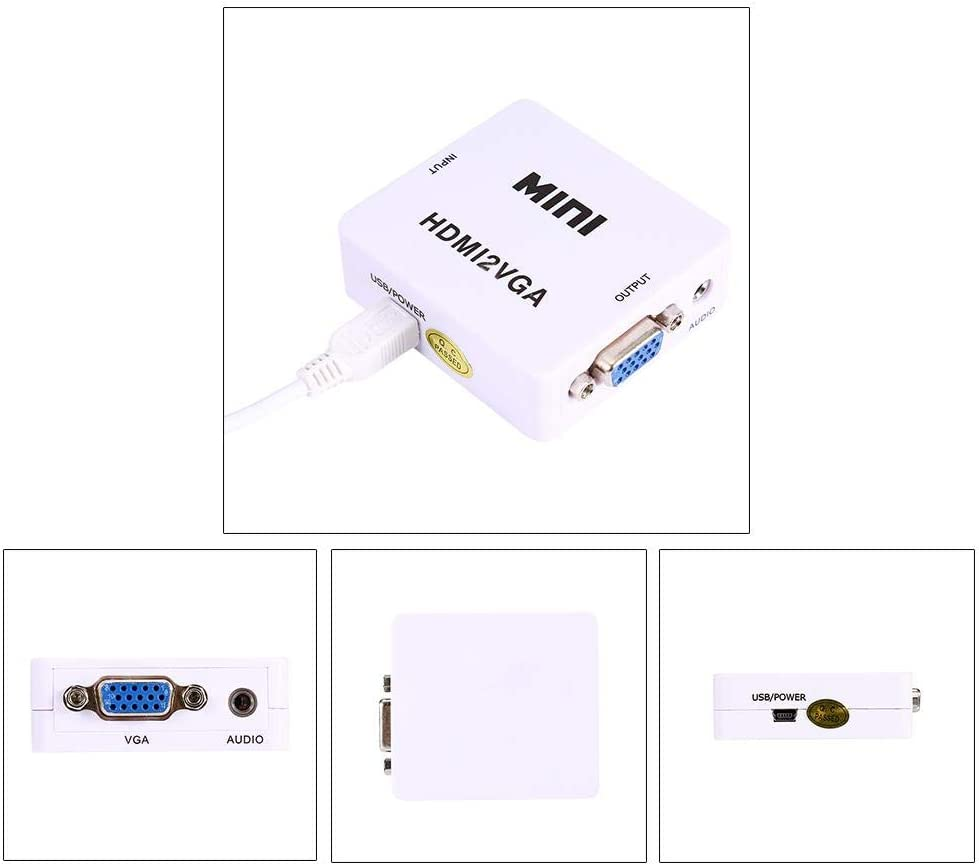 Mini HDMI to VGA Converter with USB Cable,HDMI 2 VGA Adapter 1080P Audio White for Laptop PC PS3 Xbox STB Blu-ray TV Stick