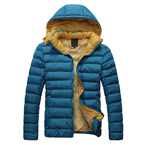 SODIAL (R) 2014 Hombres Caliente Abrigo con capucha sudadera abrigo anorak invierno chaqueta abajo Azul - L