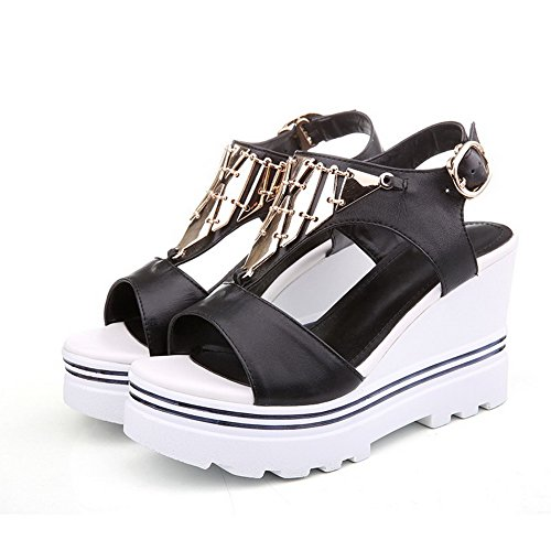 AmoonyFashion Womens Open-Toe High-Heels Soft Material Solid Buckle Sandals Black iyLCXLX