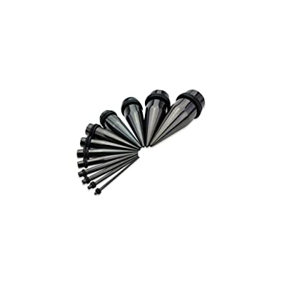 00G 10mm Black White Ear Expanders Stretchers Tapers 1 Pair