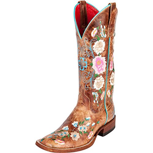 Floral Western Boots - Macie Bean Women's Rose Garden Cowgirl Boot Square Toe Honey 8.5 M US