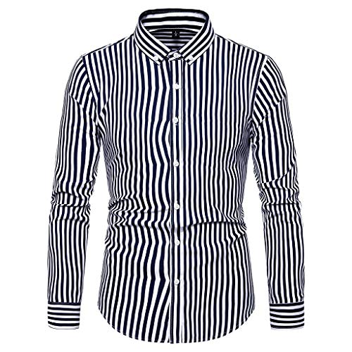JJLIKER Men's Long-Sleeve Plaid Button-Down Shirts Striped Standard-Fit Dress Shirt Slim-Fit Business Tees Tops Adult Black