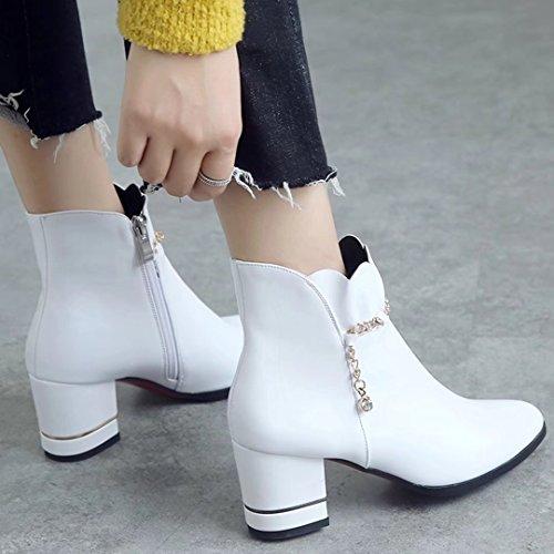 47e67c1703 ... AIYOUMEI Damen Spitz Blockabsatz Stiefeletten mit Strass und 7cm Absatz  Herbst Winter Stiefel Schuhe Weiß