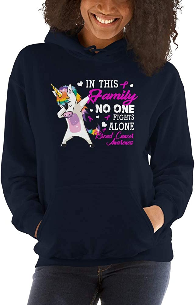 in This Family No One Fights Alone Breast Cancer Awareness Unisex Hoodie