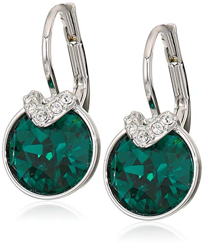 Swarovski Authentic Bella 2 Rhodium Plated Charming Green Pierced Drop Earrings (Fit Pierced Earrings Swarovski)