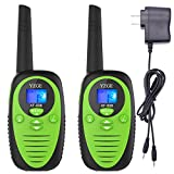 YZGE Rechargeable Walkie Talkies for Kids Two-Way Radios 22 Channels FRS/GMRS Portable Handheld Mini Kids Walkie Talkies Long Range 3 Miles Carry Charger (Green,Pack of 2)