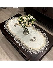 Lace Oval Table Runner Embroidered Table Topper Lace Doilies Doily Oval Dresser Scarf, 16 x 35 Inch, Grey