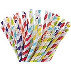 Paper Straws, Pack of 150- Different Colors Rainbow Stripe Paper Drinking Straws for Birthday, Wedding, Christmas, Celebration Parties