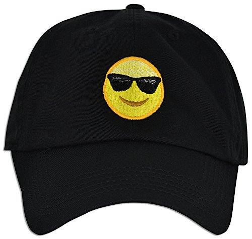 Cap Face Happy (Emoji Happy Face Sunglasses Cap Hat Dad Adjustable Polo Style Unconstructed (Black))