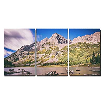 Mountain Landscape with Dead Woods on The Lake Maroon Bells Colorado United States x3 Panels
