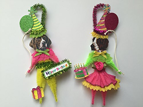 (German Shorthaired Pointer BIRTHDAY ORNAMENTS Vintage Style Chenille Ornaments Set of 2)