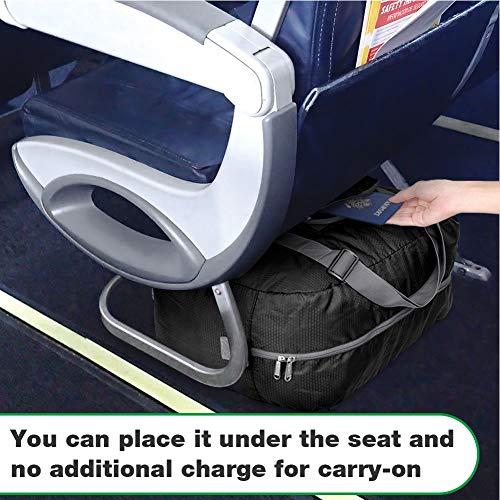 Wandf Foldable Travel Duffel Bag Luggage Sports Gym Water Resistant Nylon, Black