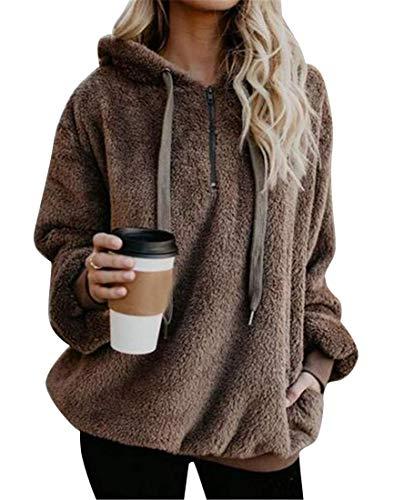Haokan Abrigo de sudadera con capucha de la sudadera con capucha de la piel sintética de Hoode de las mujeres del tamaño extra grande sólido sólido (Color : Brown, tamaño : US-3XL)