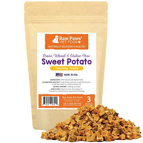 Raw Paws Pet Grain-Free Sweet Potato Training Treats for Dogs, 3-oz - Made in the USA - Vegetarian & Vegan Dog Treats - Natural Sweet Potato Dog Treats - Low Calorie, Gluten Free Puppy Training Treats