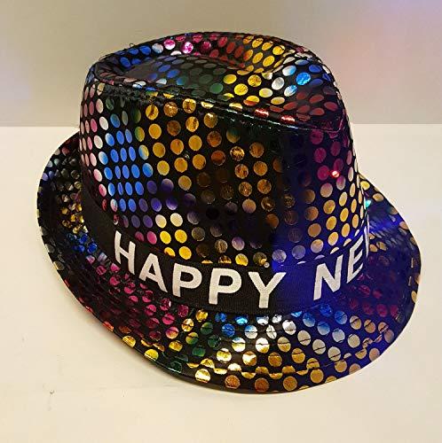 2019 Happy New Years Eve Fancy Light Up Fedora Party Hats (Disco Duck)]()