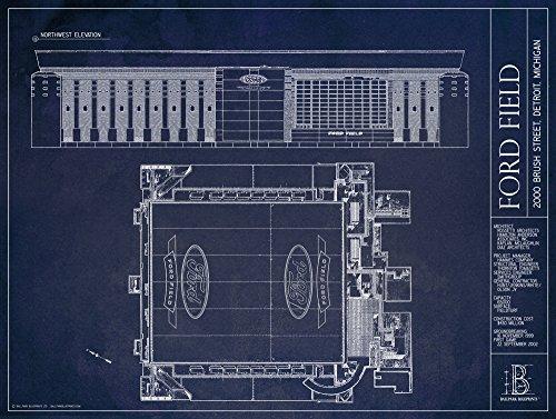 Detroit Lions Ford Field (Ford Field - Detroit Lions - Blueprint Style Print (Unframed, 18