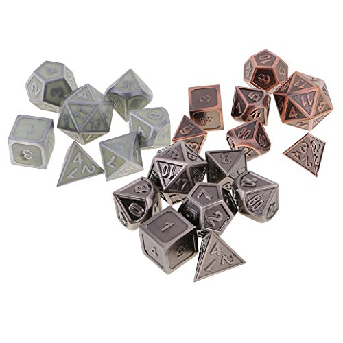 MagiDeal 21 Pieces Zinc Alloy Multi-sided Dices Glow In The Dark for Party Casino Pub Bar Board Game Supplies by MagiDeal